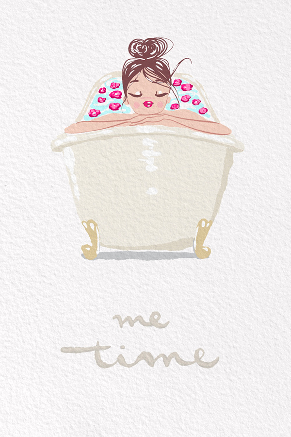 illustration-woman-floral-relaxing-bath-well-being