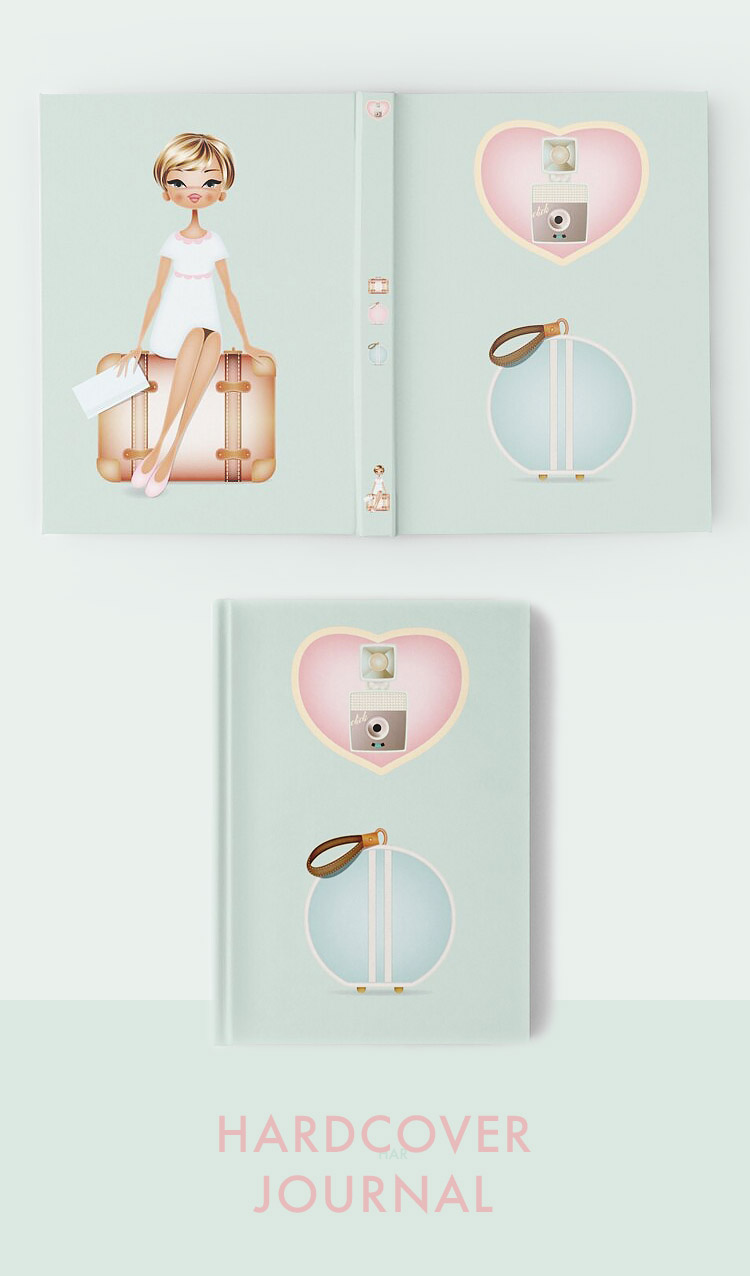 Hardcover travel journal illustrated. woman with vintage luggage in pink and mint pastel colors. Wanderlust love to travel Paula Romani