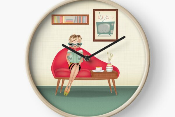 READ-ILLUSTRATION-RETRO-VINTAGE-MODERN-MID-CENTURY-STYLE-WOMAN- BOOK-LOVERS-clock
