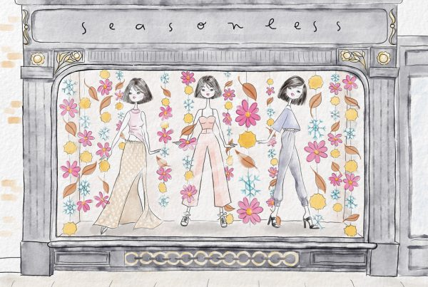 Fashion illustration. Storefront