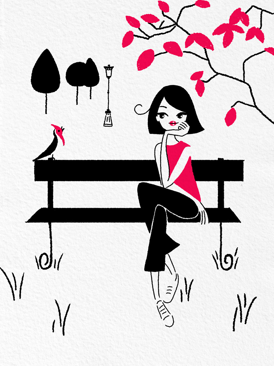 illustration of woman sitting on a bench at a park enjoying nature. birds and trees line stylized illustration. Painted in black, white and red