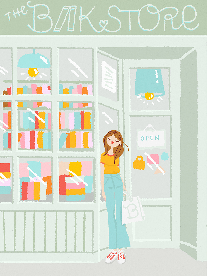 illustration of a bookstore with a girl woman buying book carrying a tote bag full of books-front-bookshop-woman-tote-bag-books-cover-art-livre-couverture-illustrator-freelance-female-illustrateur-illustratrice